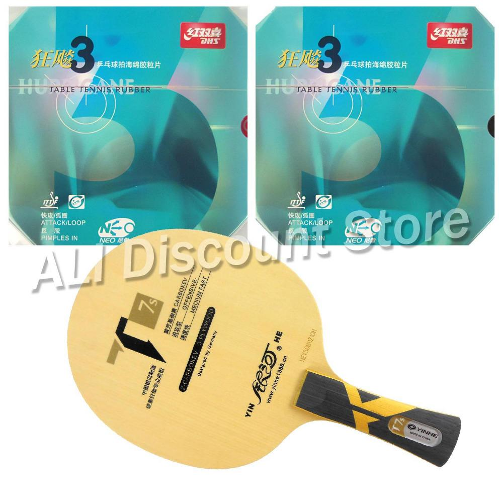 Wholesale- Galaxy YINHE T7s Blade with 2x NEO Hurricane 3 Rubbers for a Table Tennis Combo Racket LongShakehand FL