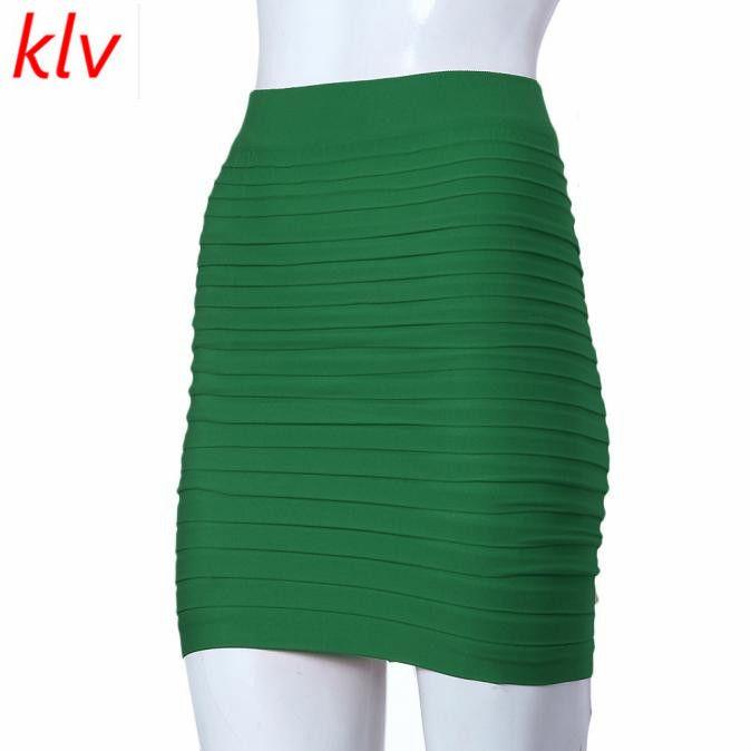 Wholesale- Summer gonne KLV donne mini New Elastico a pieghe a vita alta hip gonna corta donna moda retrò mini gonne donna drop shipping