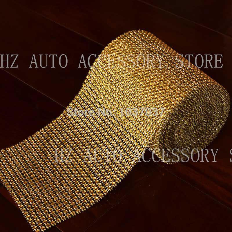 "4.75""x15 FT Gold Wedding Diamond Mesh Wrap Roll Sparkle Rhinestone Looking Ribbon Free shipping wedding centerpieces"