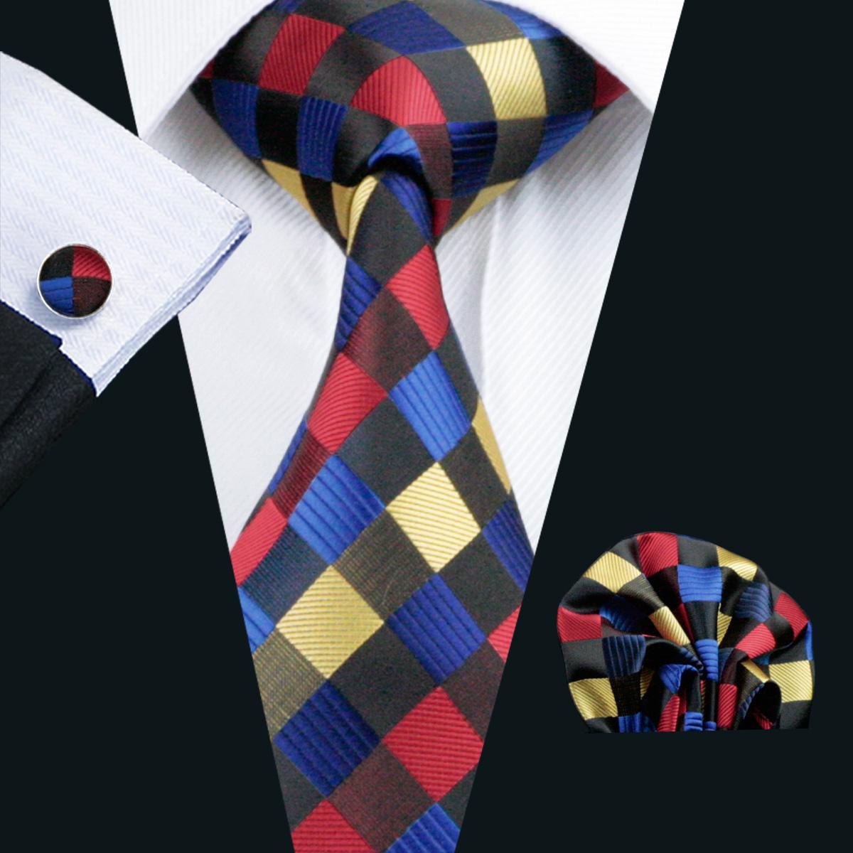 Klassieke Plaid Tie Set voor Mannen Hanky Manchetknopen Zwart Rood Geel Blauw Jacquard Geweven Neck Tie Set Silk Mens Business Work Formal N-0423