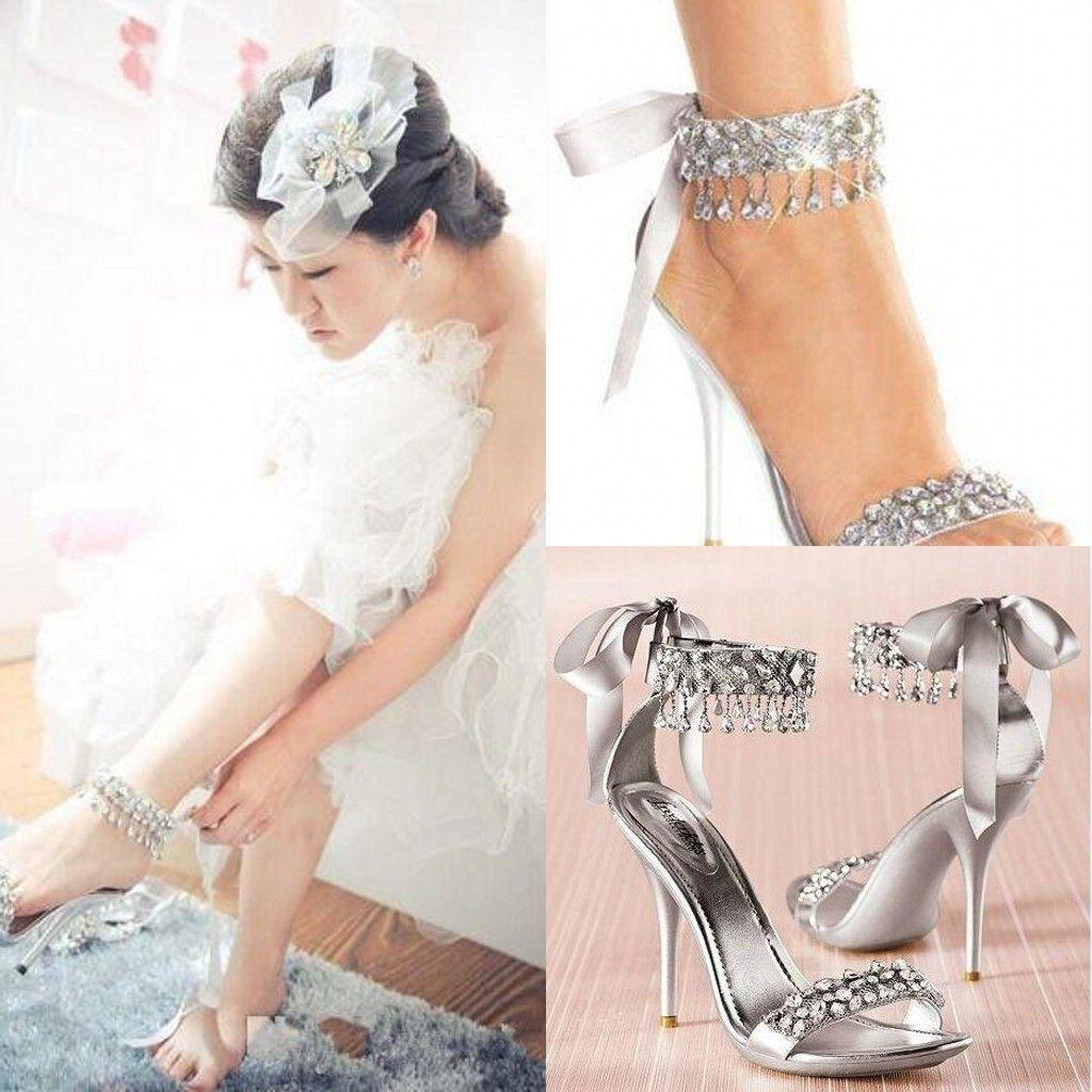 New Fashion High Heels Silver Rhinestone Shoes Wedding Shoes Sandal Bridal Shoes Simply Elegant Shoes Hot Selling Ivory Wedding Shoes With Rhinestones
