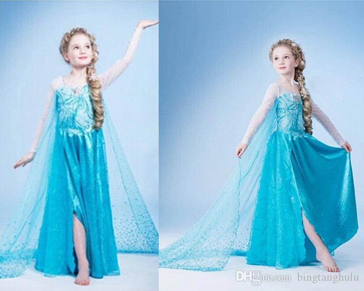 2019 Beautiful! Hot 2017 Kids Summer Dress Girls Sweet Frozen Elsa Princess  Dresses With Blue And Green Colors From Bingtanghulu, $15.58