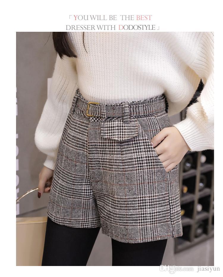 2019 Woolen Plaid Shorts For Women Autumn Winter Outerwear Wide Leg High Waist Short Mujer Elegant Office Work Wear Ladies Shorts From Jiasiyun