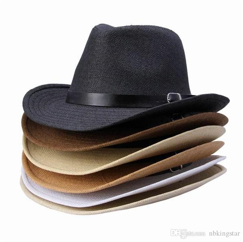 Yeni Yaz Katı Hasır Şapka Ile Deri Kemer Tasarımcısı Kovboy Panama Şapka Kap 6 adet / grup Ücretsiz Kargo