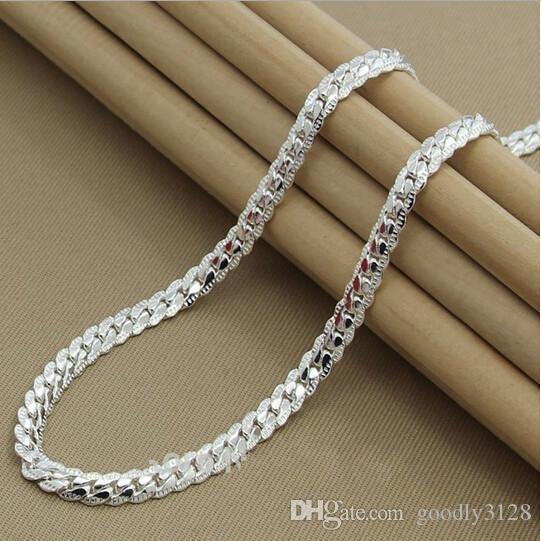 Wholesale-Fashion High quality  new womens mens male female 925 Sterling silver Necklace Necklaces Pendant chain Link Pendants KX130