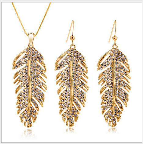 2016 High quality full diamond Feather earrings necklace set fashion luxury women jewelry sets 2 color AA0655