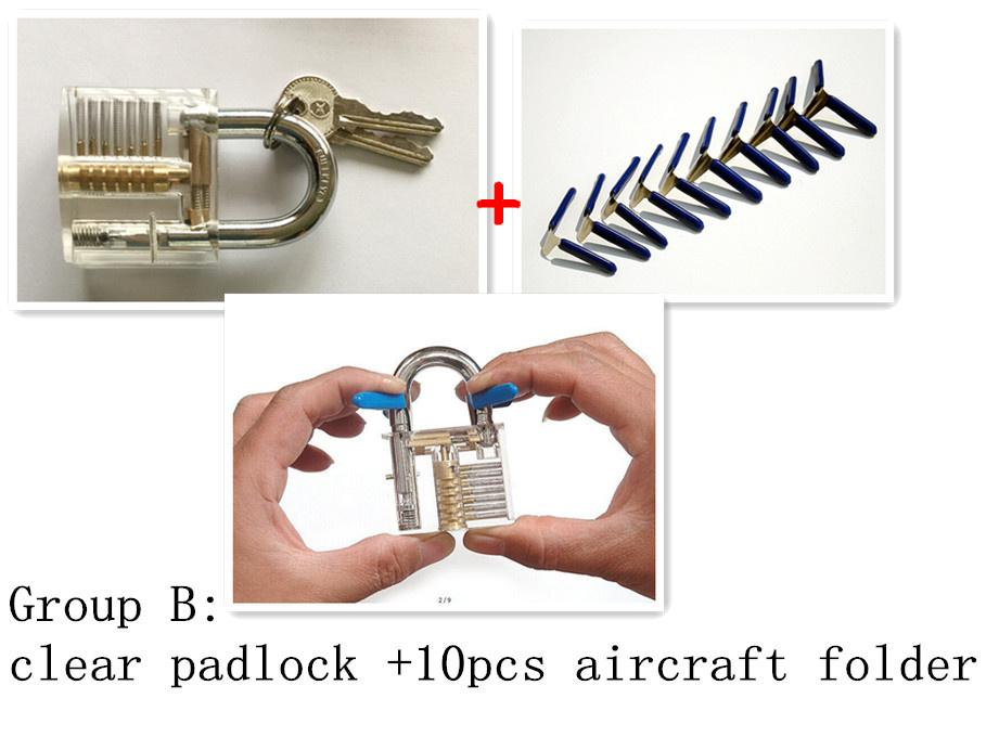 Transparent Visible Pick Cutaway Practice Padlock Lock With 10 pcs Aircraft Folder. Lock Extractor Set Locksmith Tool