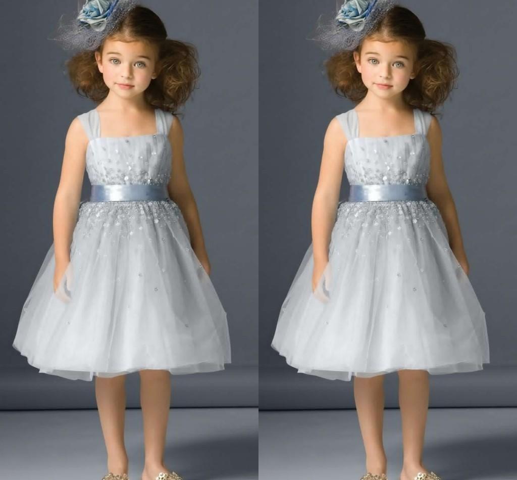 Beaded glitz pageant dresse Dress Square knee Length Flower Girl little girls pageant Gown Tutu Kids communion Dress For wedding
