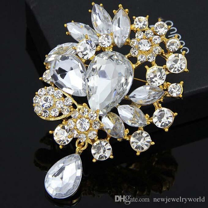 Cheap Price Good Quality Luxury Gold Tone Huge Glass Water Drop Pendent Brooch Elegant Wedding Bouquet Jewelry Pins Fashion Gift Broach
