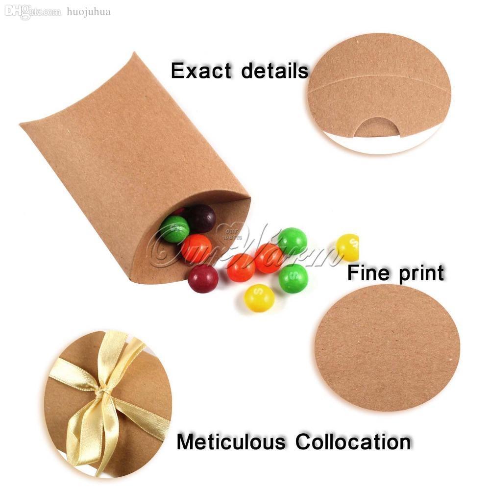 Wholesale-100Pieces / lot Nuovo stile Kraft Pillow forma regalo bomboniera, partito Candy Box all'ingrosso