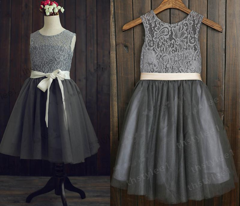 Gray Lace Flower Girl Dresses Fashion Dresses