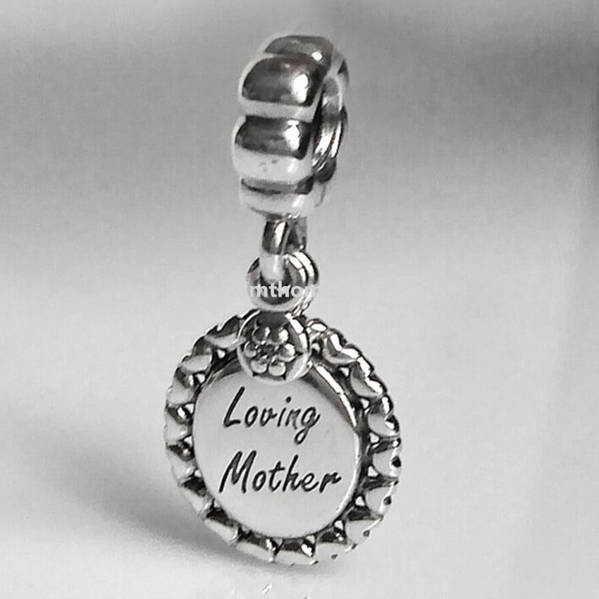 925 Sterling Silver Loving Mother Dangle Charm Bead with Clear Cz Fits European Pandora Style Jewelry Bracelets Necklaces & Pendants