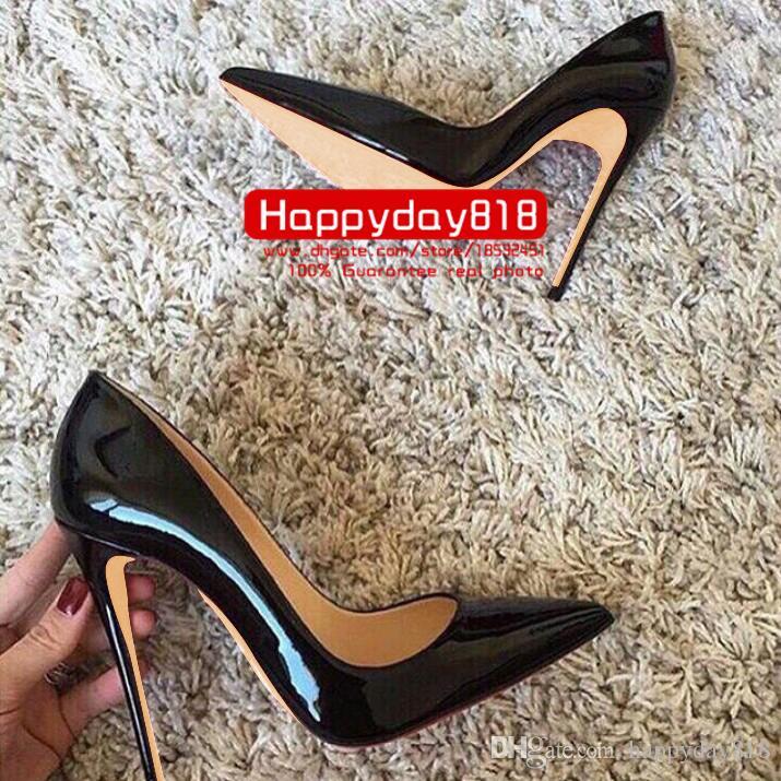 Ücretsiz kargo moda kadın pompaları Siyah rugan nokta ayak yüksek topuk koni topuk ayakkabı çizmeler hakiki deri 120mm gerçek fotoğraf