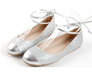 2015 женщины плоский лодыжки ремень балетки летние серебряные блестки лианы балерина sapatilhas платье обувь плюс размер 40-43 c1020