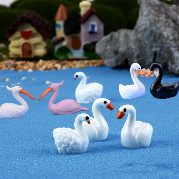 8 stücke Kawaii Mandarinente Schwan Flamingos Strand Meer mini Fee garten dekoration miniaturen tiere Moos harz handwerk Gnome
