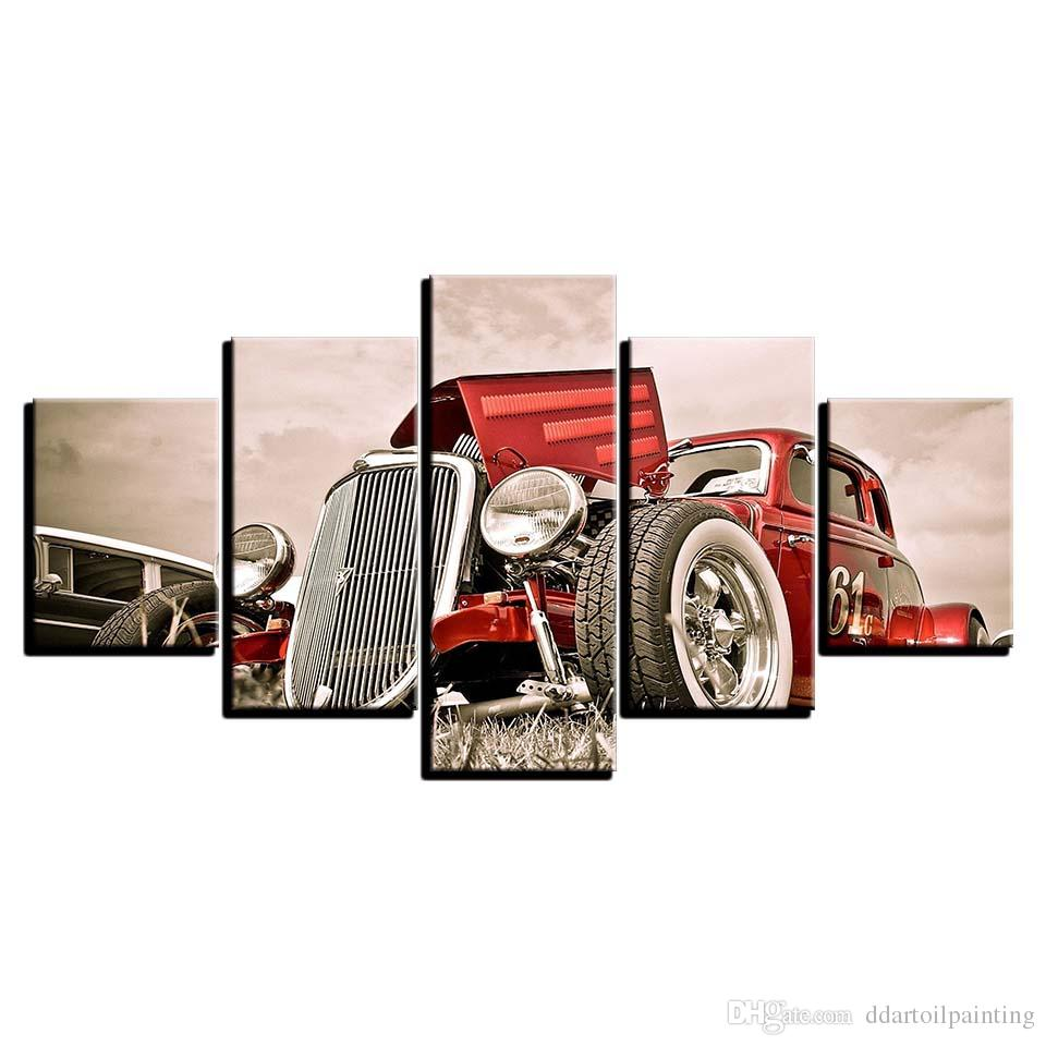 Vintage Decor LARGE 60x32 5Panels Art Canvas Print Hot Rod Red Front View Wheels Paintings Car Poster Wall Home Decor interior (No Frame)
