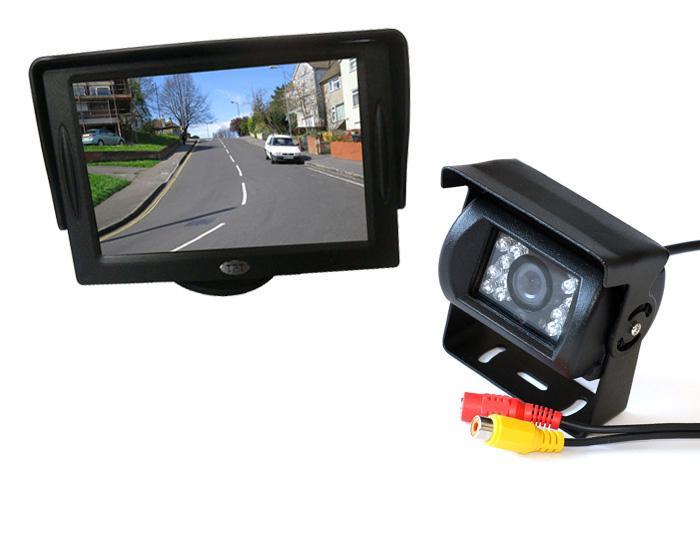 """18 IR LED CCD Câmera Reversa 12 V / 24 V + 4.3 """"Monitor Do Carro LCD + 10 m Cabo de Vídeo Bus Estacionamento Caminhão Retrovisor Kit"""