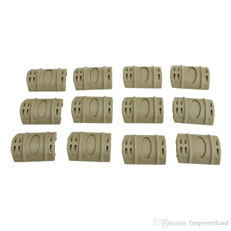 Funpowerland High quality Tan Color 12pcs/PACK Tactical W Picatinny Rubber Handguard Quad Rail Protect Covers Tan Hunting Free Shipping
