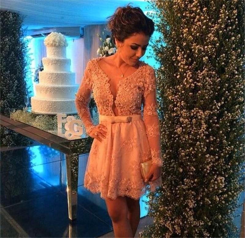 Peach Beaded Cocktail Dresses Short Long Sleeve Vestido de Festa Amazing Sheer Neck back Zipper Pageant Dress Lace weddding party Gowns 2015