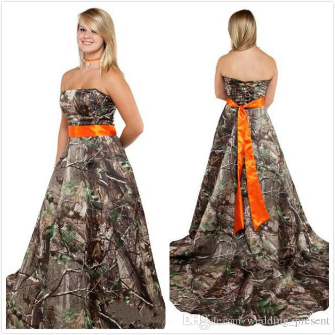 Vestidos de novia Realtree 2015 con Orange Sash Strapless Court Train Lace-up Volver Vestidos de novia Camo Modestos vestidos formales de camuflaje