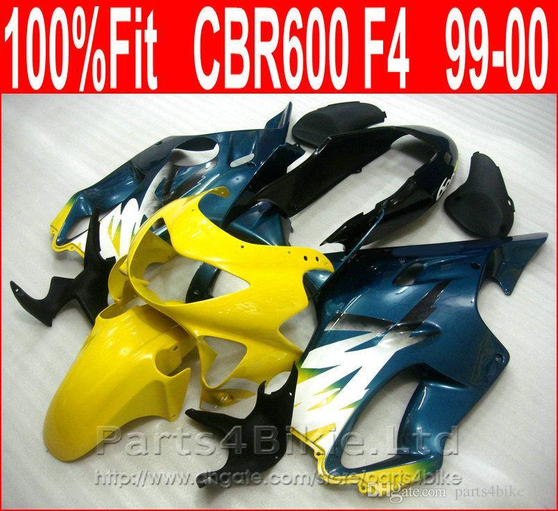 100% Fit bleu jaune carénages de moto pour Honda NOUVEAU kit de carénage CBR600 F4 CBR 600 F4 1999 2000 carrosserie GBIX