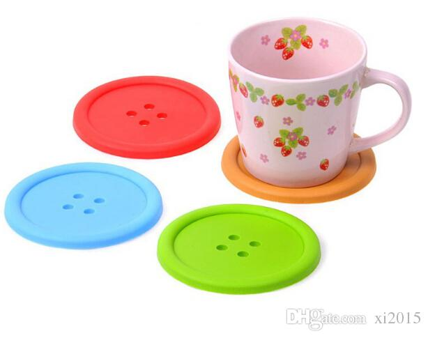 500pcs/lot Silicone Button Coasters Cup Coaster Table Tea Mug Cushion placemat Cup Coaster Mat Pad Drinks holders 5 colors