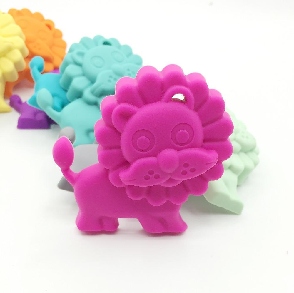 Teether BPA del silicone del leone del commestibile del bambino libero, giocattolo di Teether del leone per il bambino, collana di Theething del regalo del bambino