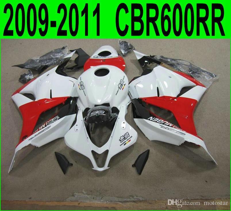 Injection molding high quality bodywork fairings for Honda CBR600RR 2009 2010 2011 white red black fairing kit CBR 600RR 09 10 11 YR76