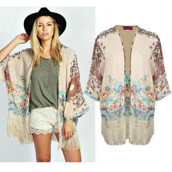 248597a768e Women Kimono Cardigan 2015 Autumn Vintage Women'S Tassel Shirt Floral Print  Long Kimonos Ladies Fall Clothes BM6598 Canada 2019 From Dress_wholesales,  ...