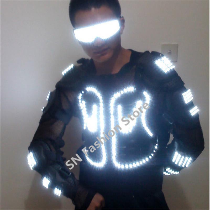 HH61 Biały kolor Mężczyźni Ballroom Dancing Luminous Led Light Armor Kostium Kostium DJ Disco Bar Party Event Supply Laser Festival Show