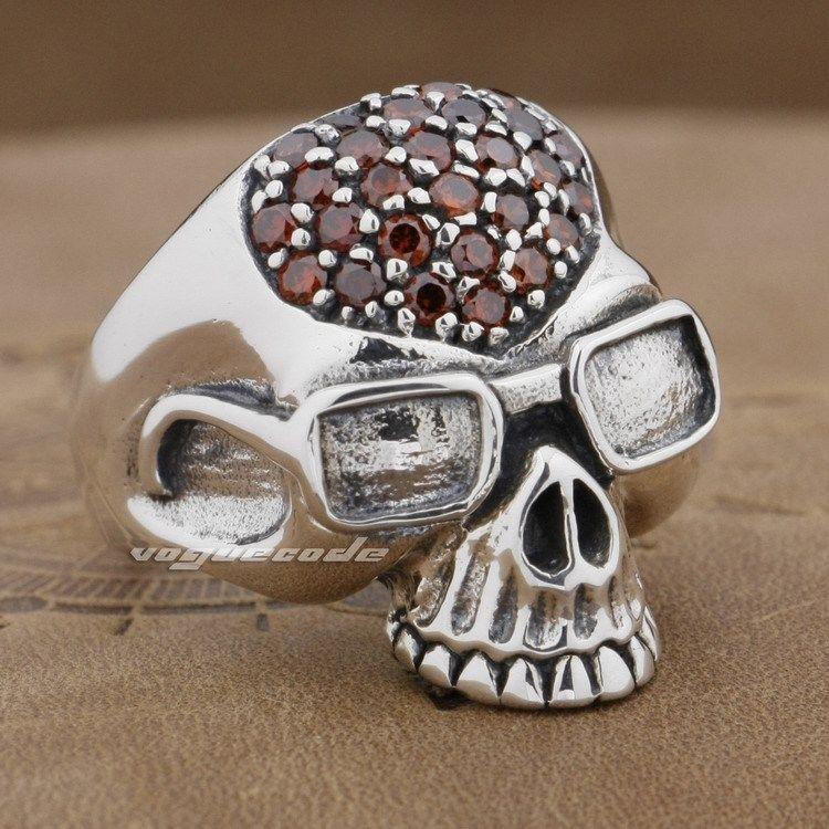 925 Sterling Silver Pilot Skull Mens Biker Rocker Ring 9D007A US Size 8.25~10.25 Free Shipping