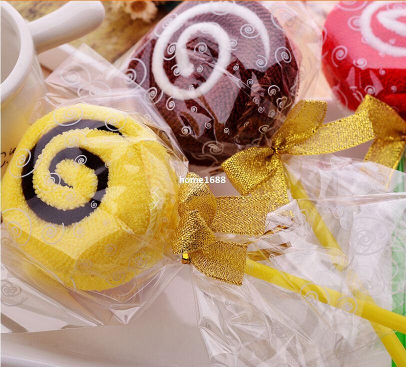 10pcs / lot liberano il trasporto gli asciugamani della torta del microfiber Asciugamani della caramella Regalo di nozze della novità Bello tovagliolo del lollipop con bowknot dorato
