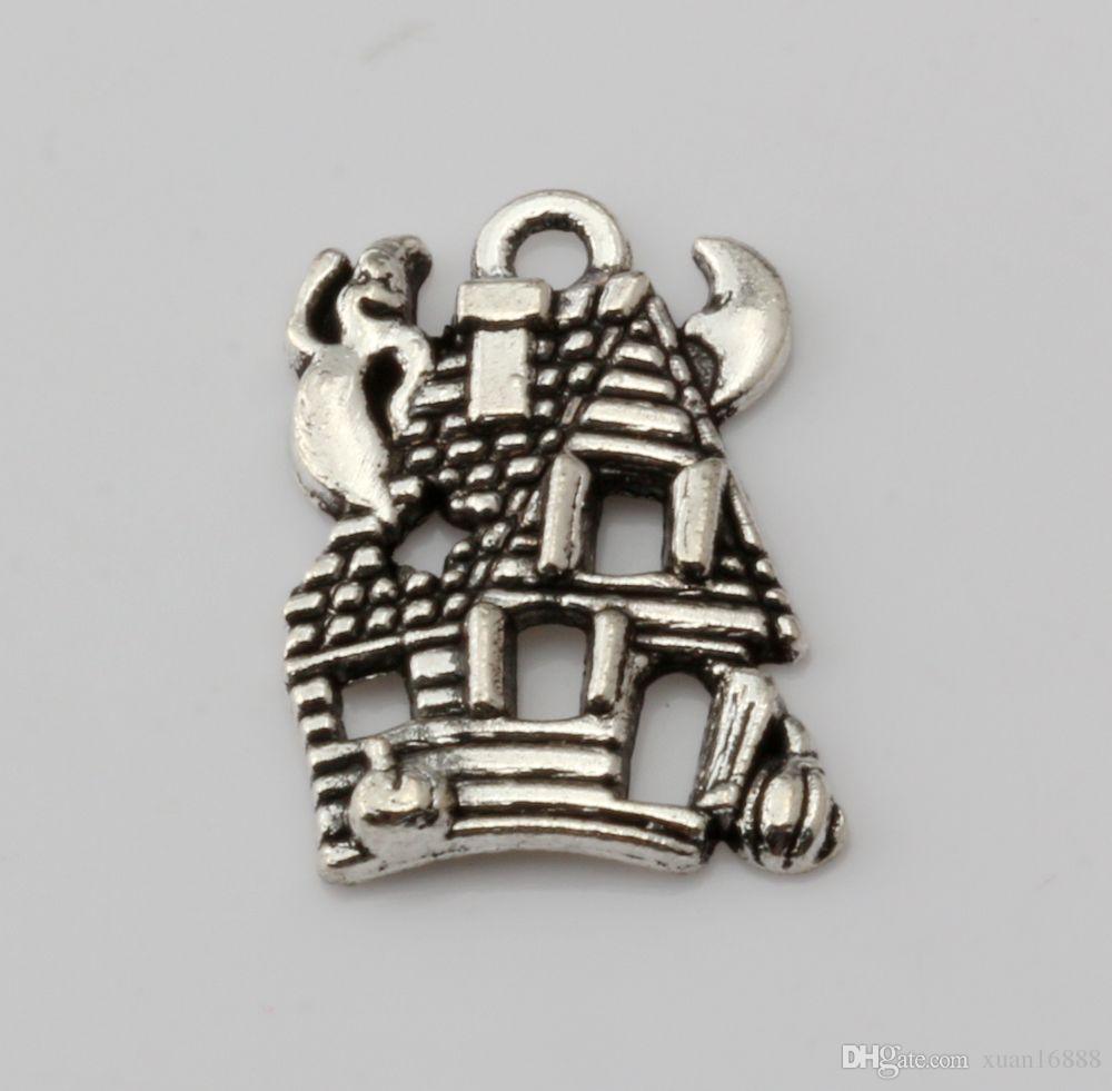 Горячей ! 300PCS Модный античный серебряный сплав цинка * CUTE HAUNTED HOUSE GHOST * Шармы Подвеска 14 * 20 мм DIY Ювелирные изделия