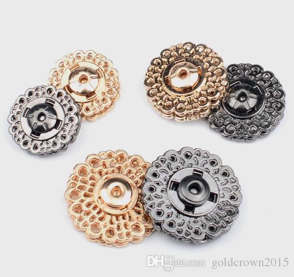 Yüksek Kaliteli Metal Yapış Button12pcs 15/18 / 21 / 25mm Ceket toka düğmeleri Moda Topuz Stealth Toka Coat Düğmeler Konfeksiyon accessoriies
