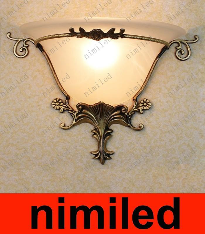 Nimi642 Европейская медь + стекло светодиодный настенный светильник коридор коридор спальня прикроватная лампа Освещение гостиной бар отеля американские сельские огни
