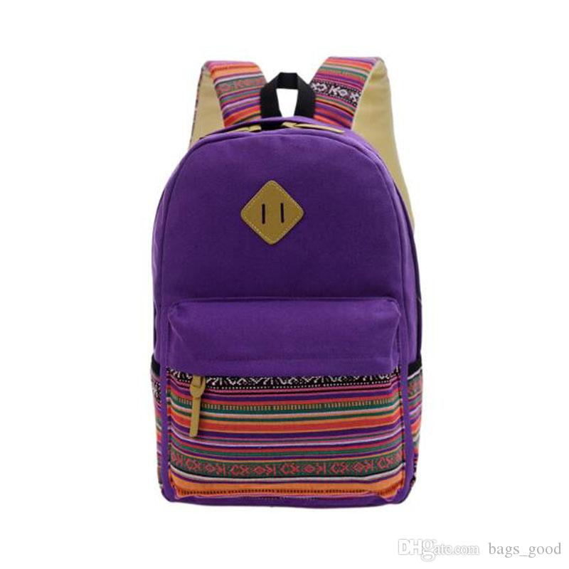 Wholesale Women Backpack for School Teenagers Girls Vintage Stylish Ladies Backpack Female Purple Dotted Printing High Quality