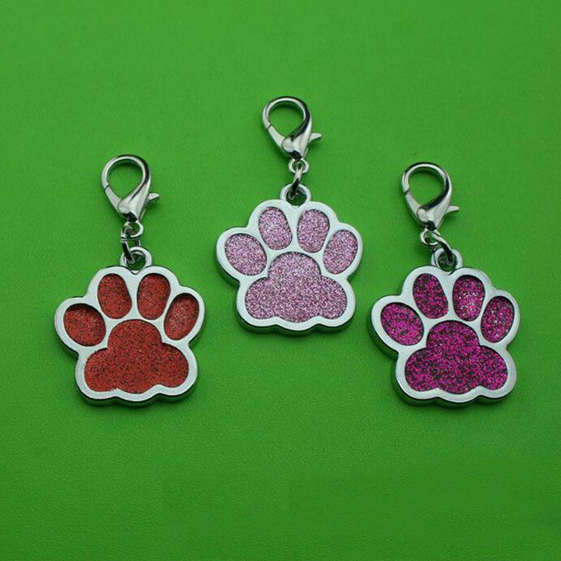 Lovely Dog Paw Footprint Alloy Pet Dog Cat ID Card Tag Ornamenti per collana con gancio Pet Ciondolo gioielli ZA5430