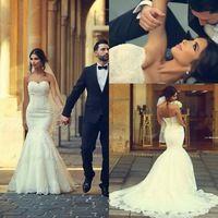 New Romantic White Ivory Sweetheart Mermaid Wedding Dresses 2015 Lace Up Back Vestido De Noiva Renda Court Train Dress Bride