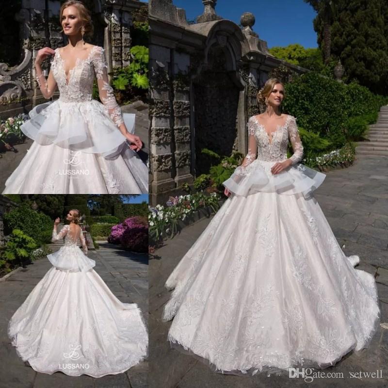 Robes de mariée en dentelle appliquée ivoire Vintage manches longues Illusion col en V Robes de mariée robes Robe de mariée