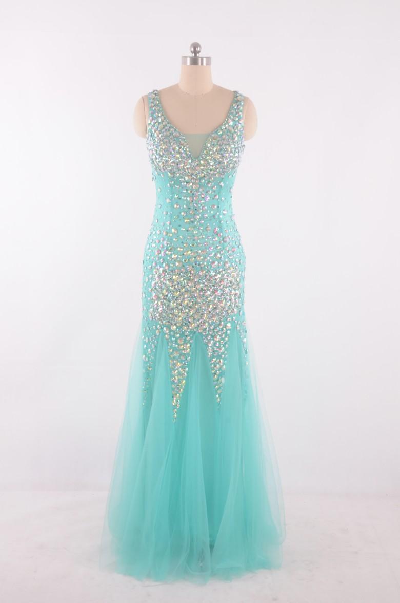 2016 Mint Green Crystal Vestidos de baile Imagen real 100% Sparking Crystal Dress Vestidos de Festa Sirena Estilo Vestido de noche formal