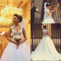 Vestido De Noiva 2015 Gorgeous Princess Long Beaded Lace Saudi Arabic Ball Gown Wedding Dress 2015 Bride Dress Vestido Casamento