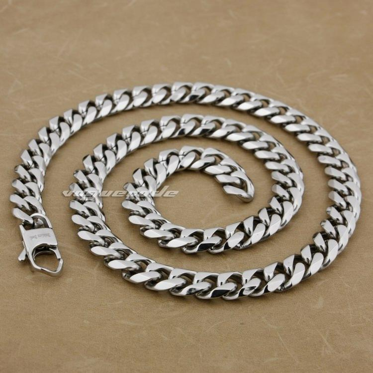 """18"""" ~ 36"""" 316L Stainless Steel Mens Necklace Cuban Curb Chain 5M004N"""