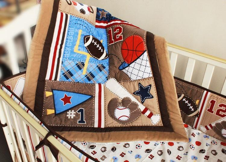 Embroidery 3D cartoon leaves basketball Letter Baby boy bedding set 100% cotton Crib bedding set Baby Quilt Bed Bumper etc Cot bedding set