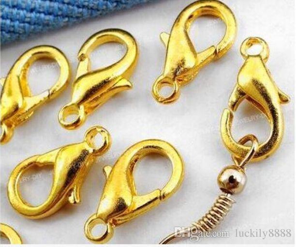 1000 pcs prata / ouro / bronze / revestimento de cobre fechos de garra de lagosta para jóias fazendo 12mm