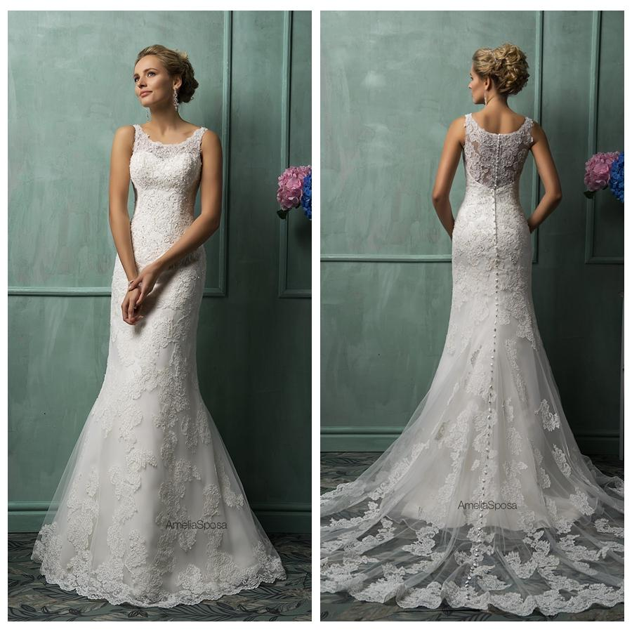 Ivory lace sheath wedding dresses 2015 sheer scoop straps ivory lace sheath wedding dresses 2015 sheer scoop straps sleeveless illusion back applique sweep train formal bridal gowns amelia sposa ombrellifo Gallery