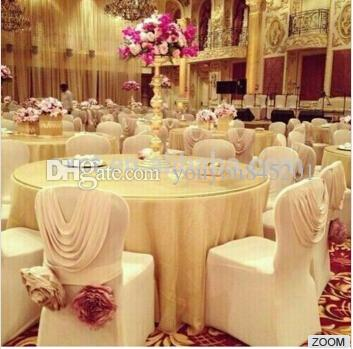 New Design Luxury Spandex Chair Cover With White Ruffled Valance/ Drape At Back 100PCS A Lot For Wedding Use