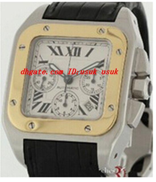 Luxus armbanduhr neue 100 xl edelstahl 18 karat gold quarzwerk herrenuhr w20091x7 männer sport armbanduhren lederband