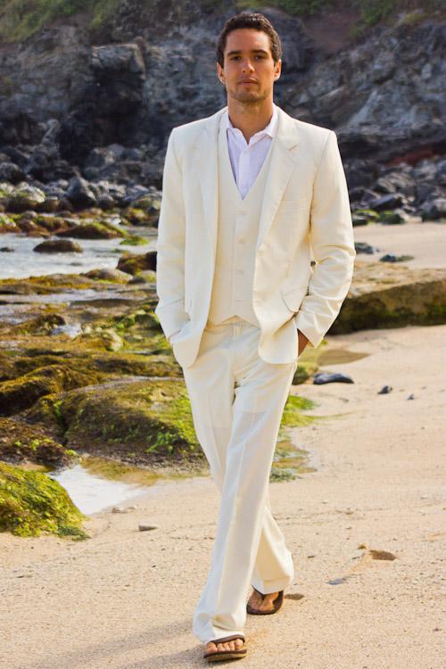 Marfim Casamento Da Praia Dos Homens Ternos Custom Made Bonito Noivo Smoking Dois Botões Padrinhos Ternos Casuais Ternos de Baile (Jack + Calça + Colete + Gravata)