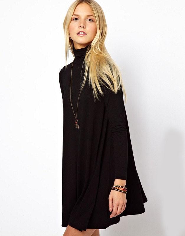 2014 Jesień Zima Nowa Moda Czarny Solidna Z Długim Rękawem Kobiety Plus Size Swing Swetry Sertigan Cute Casual Dresses