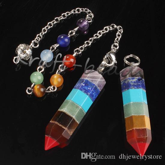 UMY All'ingrosso 10pcs Colourful Hexagon Colonna ReiKi Stone 7 Round Beads Chain Chakra Pendulum Pendant Statement Accessori